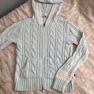 Ralph Lauren baby blue knit sweater hoodie